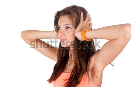 Woman covering eyes Stock photo © Aikon