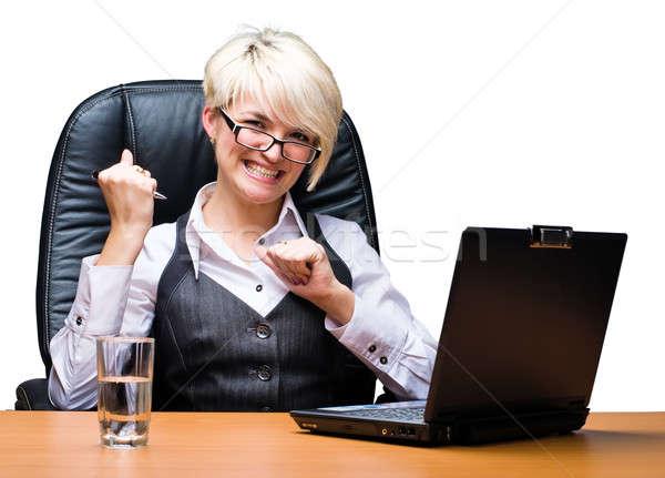 Mooie laptop aantrekkelijk business dame werken Stockfoto © Aikon
