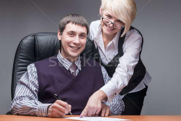 Elegant secretary and boss Stock photo © Aikon