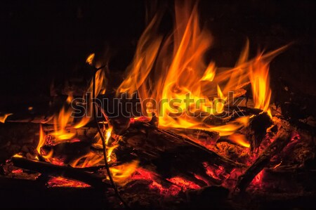 Red flames over black background Stock photo © Aikon