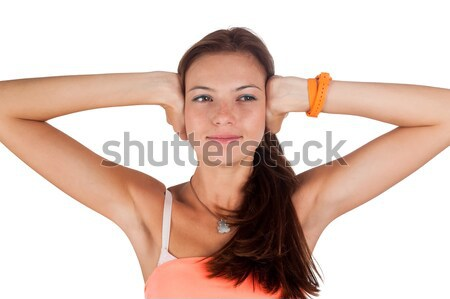 Сток-фото: нет · зла · молодые · красивая · женщина · ушки