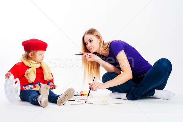 Bastante jóvenes madre hija dibujo hermosa Foto stock © Aikon