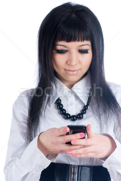 Lány ír sms fiatal nő olvas rövid Stock fotó © Aikon