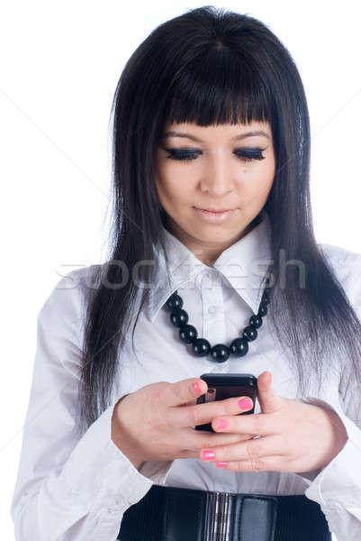девушки Дать sms чтение короткий Сток-фото © Aikon