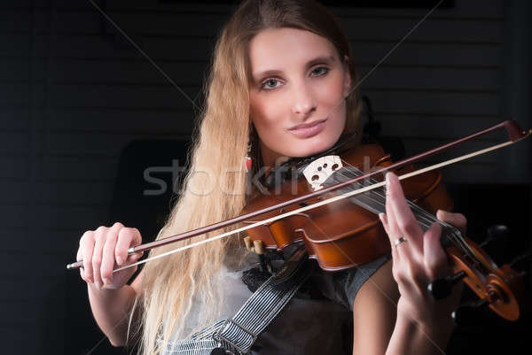 Young pretty woman with violin Stock photo © Aikon