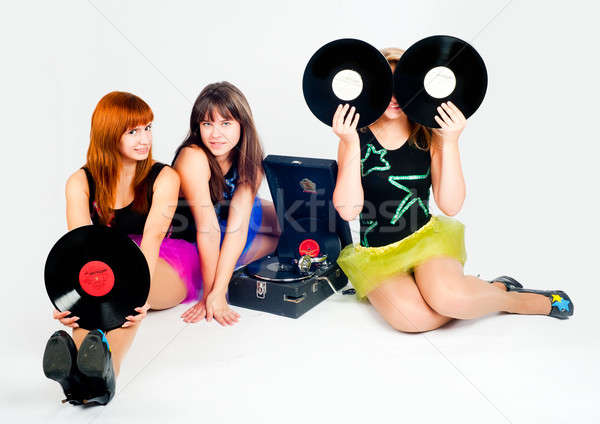 Three pretty girls with gramophone Stock photo © Aikon