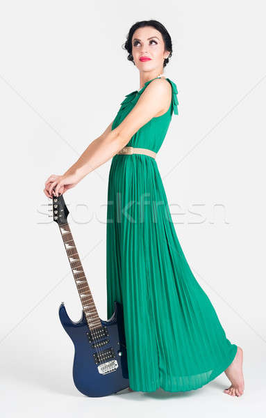 красивая женщина гитаре белый женщину музыку Сток-фото © Aikon