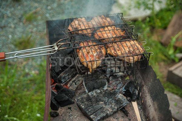 Szakács tyúk darab fűszer serpenyő grill Stock fotó © Aikon