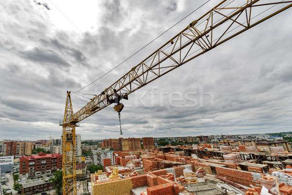 Bouwplaats zomer dag bouw kraan grijs Stockfoto © Aikon