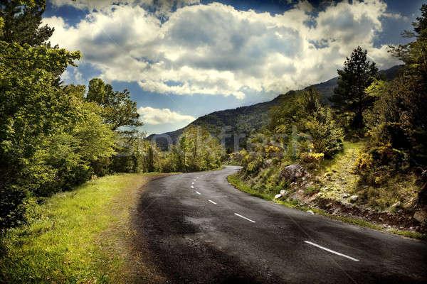 Hegy út hegyek fák kék ég felhők Stock fotó © Ainat