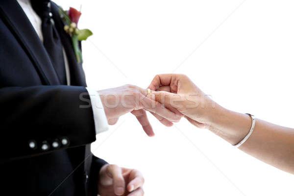újonnan házaspár jegygyűrű ujj közelkép friss házas Stock fotó © Ainat