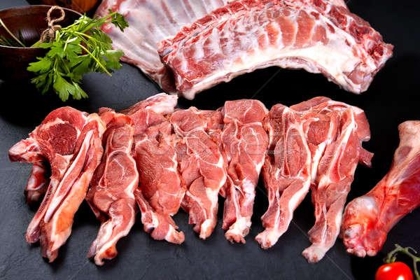Friss nyers hús borda disznóhús kész Stock fotó © Ainat