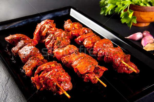 Disznóhús grill barbecue csendélet fekete BBQ Stock fotó © Ainat