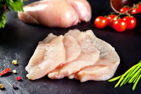 Friss nyers hús csirkemell vág kész Stock fotó © Ainat
