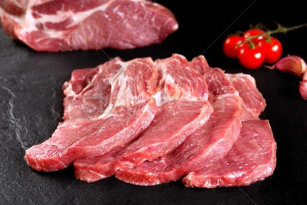 Friss nyers hús csendélet kész főzés Stock fotó © Ainat