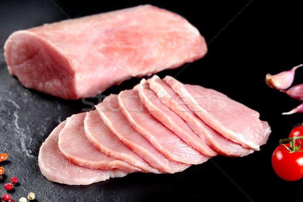 Fresh and raw meat. Pork tenderloin medallions of tenderloin, steaks cooking. Stock photo © Ainat