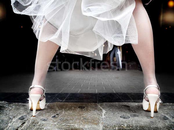 Menyasszonyi láb sarkak menyasszony ruha repülés Stock fotó © Ainat
