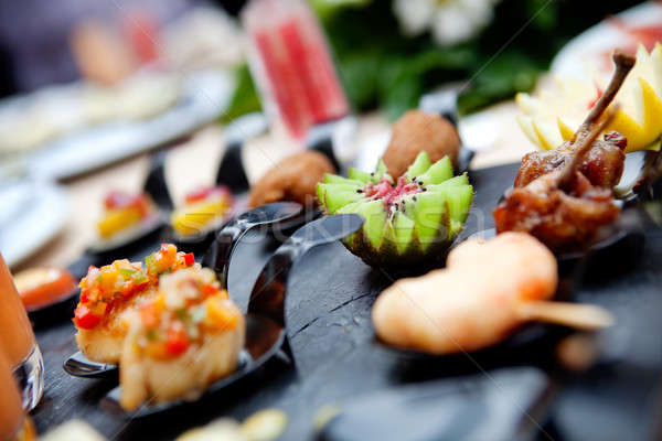 Outdoor catering. Food events and celebrations Stock photo © Ainat