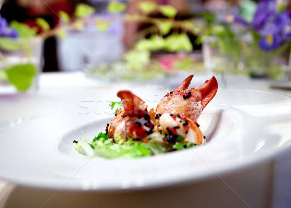 Repas restaurant homard plat floral Photo stock © Ainat