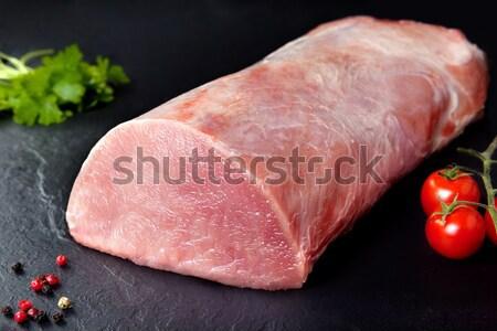 Stock fotó: Friss · nyers · hús · láb · bárány · paradicsom