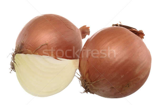 ストックフォト: 新鮮な · 玉葱 · 2 · セクション · 孤立した · 白