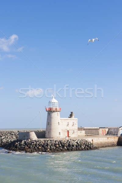 Vuurtoren haven gebouw natuur oceaan reizen Stockfoto © Aitormmfoto