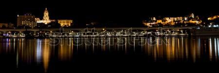 малага ночь город отражение воды Сток-фото © Aitormmfoto