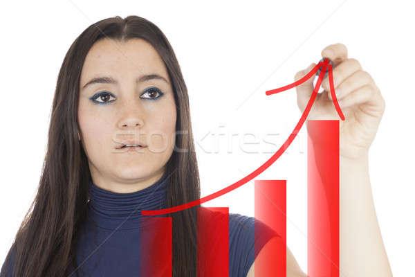 Stockfoto: Jonge · zakenvrouw · tekening · grafiek · meisje