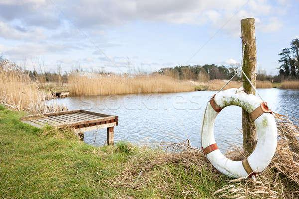 ストックフォト: 風景 · 湖 · ドック · 木材 · 自然 · 光