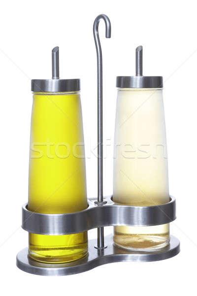 Olaj ecet olívaolaj izolált fehér reggeli Stock fotó © Aitormmfoto