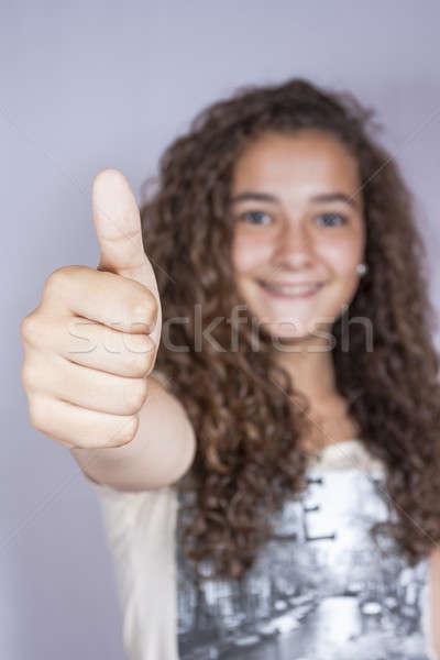 Meisje gelukkig geslaagd vrouwen Stockfoto © Aitormmfoto