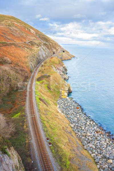ストックフォト: 鉄道 · 海岸 · 海岸線 · 鉄道 · トラック · 森林