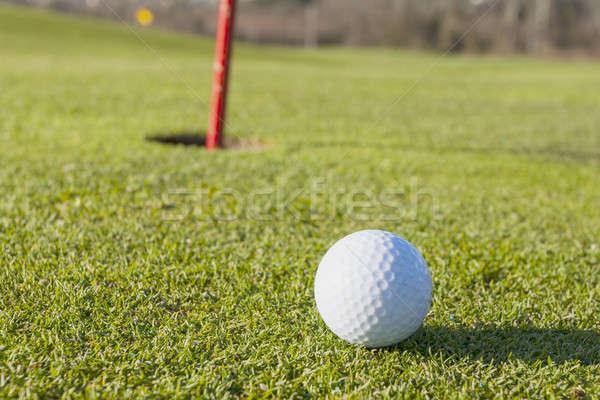 Golf groene golfbal gat gras Stockfoto © Aitormmfoto