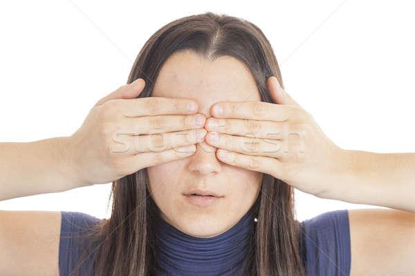 Jonge vrouw dekken ogen hand meisje Stockfoto © Aitormmfoto