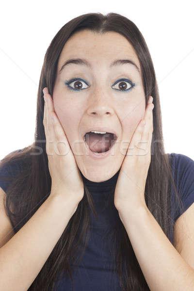 Jonge vrouw verwonderd naar camera meisje Stockfoto © Aitormmfoto