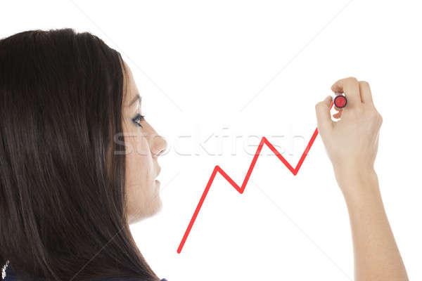 ストックフォト: 小さな · 女性実業家 · 図面 · グラフ · クローズアップ · 少女