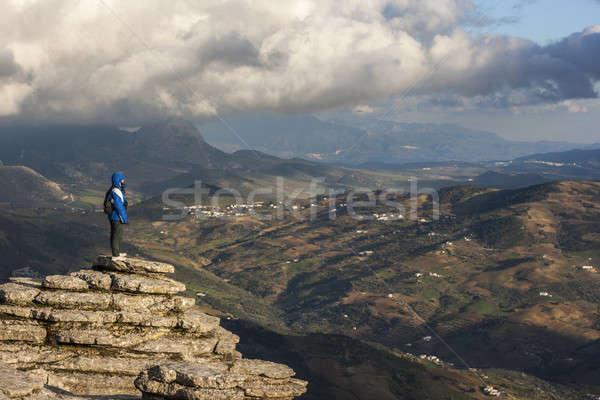 トレッキング 山 女性 少女 男 スポーツ ストックフォト © Aitormmfoto