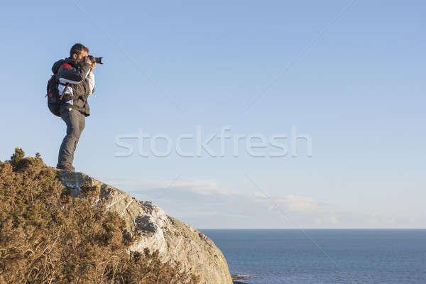 Zaino in spalla rupe uomo sport Foto d'archivio © Aitormmfoto