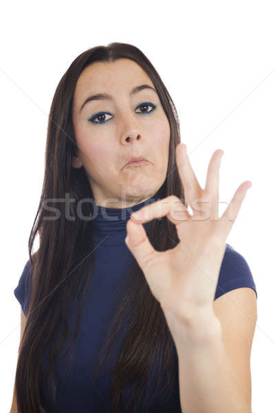 Close-up of a young woman making OK sign Stock photo © Aitormmfoto