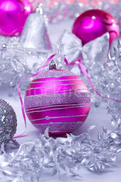 Новый год мяча украшение серебро розовый цветами Сток-фото © ajfilgud
