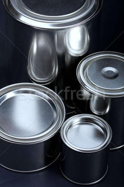 Paint cans on black Stock photo © ajfilgud