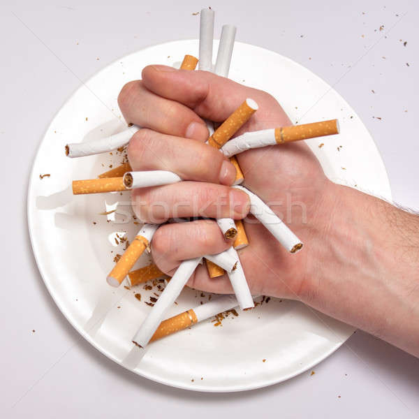 Stoppen roken verslaving geïllustreerd sigaret eten Stockfoto © ajfilgud