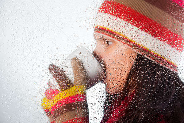Сток-фото: питьевой · напиток · красивая · девушка · горячей · зима · девушки