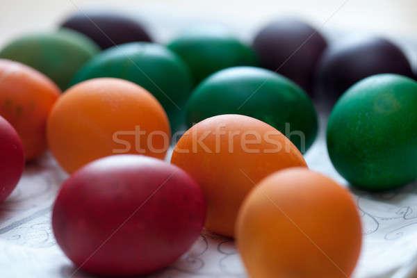 Rusztikus húsvéti tojások hagyományosan színes tojások egy szín Stock fotó © ajfilgud