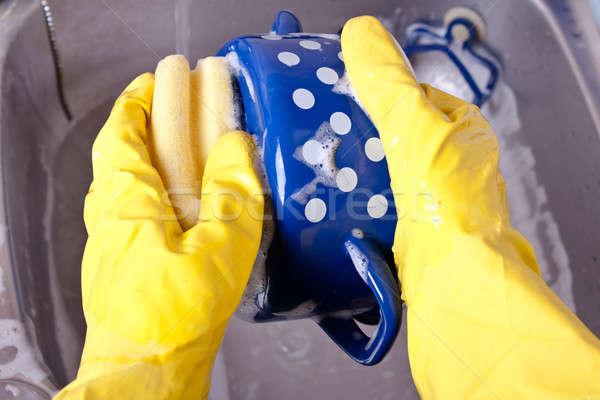 мытье посуды желтый перчатки стиральные синий банка Сток-фото © ajfilgud