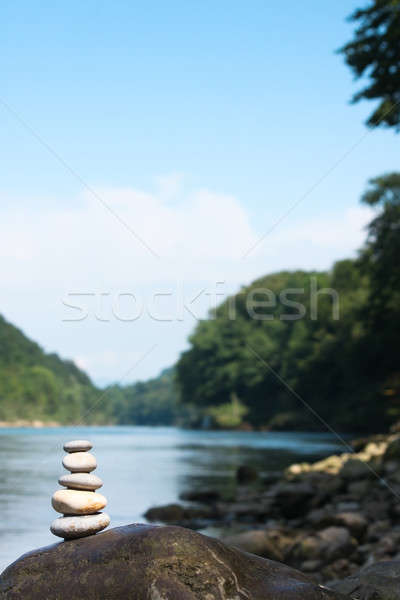 Rzeki medytacji zespołowej równowagi kamień wybrzeża Zdjęcia stock © ajfilgud