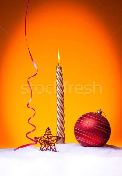 Happy new year mum kırmızı Noel top güzel Stok fotoğraf © ajfilgud