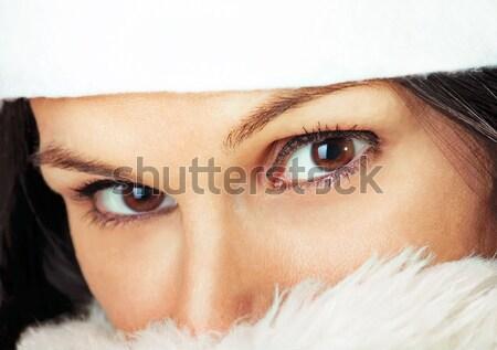 женщины за мех красивой глазах белый Сток-фото © ajfilgud