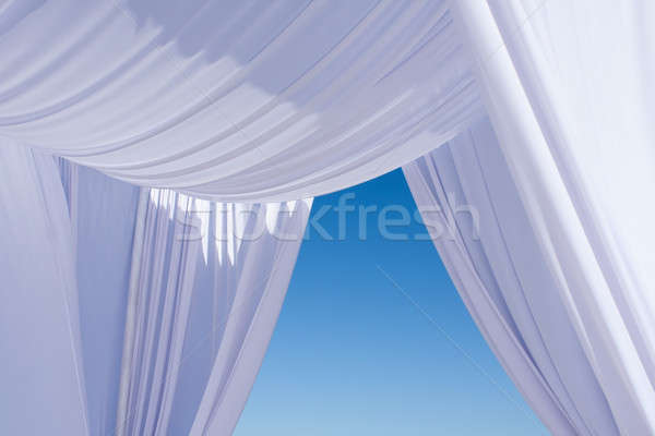 White wedding canopy canvas on blue sky Stock photo © ajfilgud