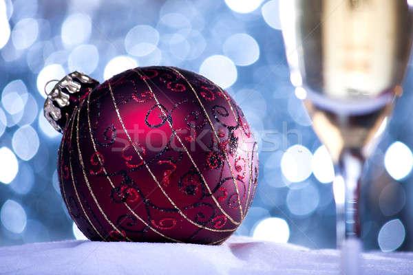 Kırmızı Noel top mavi bokeh cam Stok fotoğraf © ajfilgud
